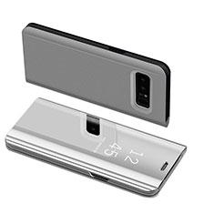 Handytasche Stand Schutzhülle Leder S01 für Samsung Galaxy Note 8 Silber