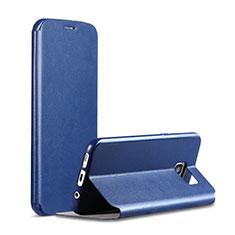 Handytasche Stand Schutzhülle Leder S01 für Samsung Galaxy S7 G930F G930FD Blau