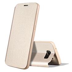 Handytasche Stand Schutzhülle Leder S01 für Samsung Galaxy S7 G930F G930FD Gold