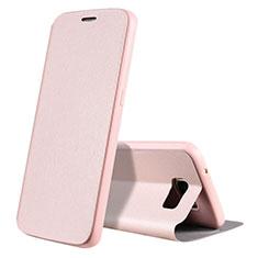 Handytasche Stand Schutzhülle Leder S01 für Samsung Galaxy S7 G930F G930FD Rosegold