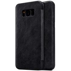 Handytasche Stand Schutzhülle Leder S01 für Samsung Galaxy S8 Plus Schwarz