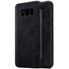 Handytasche Stand Schutzhülle Leder S01 für Samsung Galaxy S8 Schwarz
