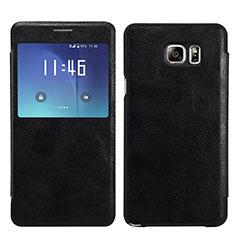 Handytasche Stand Schutzhülle Leder U01 für Samsung Galaxy S7 Edge G935F Schwarz