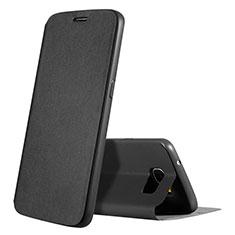 Handytasche Stand Schutzhülle LederS01 für Samsung Galaxy S7 G930F G930FD Schwarz