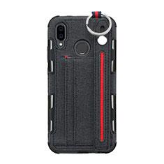 Handytasche Stand Schutzhülle Stoff für Huawei P20 Lite Schwarz