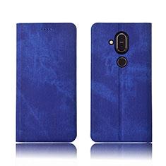 Handytasche Stand Schutzhülle Stoff für Nokia 7.1 Plus Blau