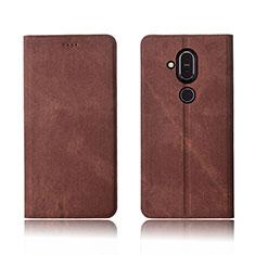 Handytasche Stand Schutzhülle Stoff für Nokia 7.1 Plus Braun