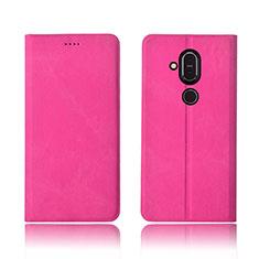 Handytasche Stand Schutzhülle Stoff für Nokia 7.1 Plus Pink