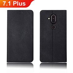 Handytasche Stand Schutzhülle Stoff für Nokia 7.1 Plus Schwarz