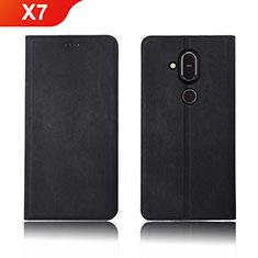 Handytasche Stand Schutzhülle Stoff für Nokia X7 Schwarz