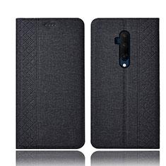 Handytasche Stand Schutzhülle Stoff für OnePlus 7T Pro 5G Schwarz