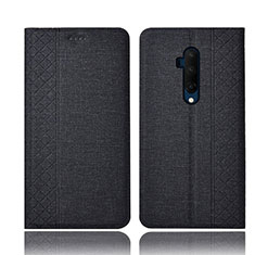Handytasche Stand Schutzhülle Stoff für OnePlus 7T Pro Schwarz