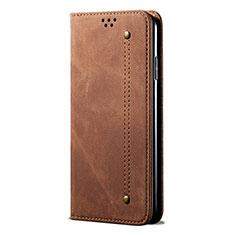 Handytasche Stand Schutzhülle Stoff für Samsung Galaxy A21s Braun
