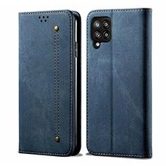 Handytasche Stand Schutzhülle Stoff für Samsung Galaxy A42 5G Blau