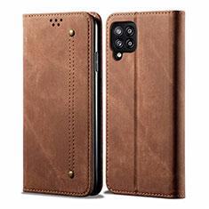 Handytasche Stand Schutzhülle Stoff für Samsung Galaxy A42 5G Braun