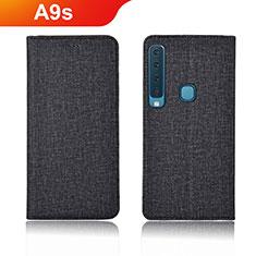 Handytasche Stand Schutzhülle Stoff für Samsung Galaxy A9s Schwarz