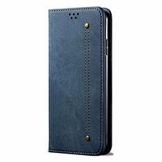 Handytasche Stand Schutzhülle Stoff für Samsung Galaxy M31 Prime Edition Blau