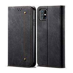 Handytasche Stand Schutzhülle Stoff für Samsung Galaxy M31s Schwarz