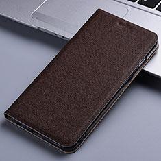 Handytasche Stand Schutzhülle Stoff für Samsung Galaxy M60s Braun