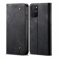 Handytasche Stand Schutzhülle Stoff für Samsung Galaxy S10 Lite Schwarz