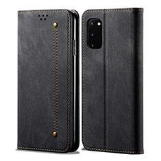 Handytasche Stand Schutzhülle Stoff für Samsung Galaxy S20 5G Schwarz