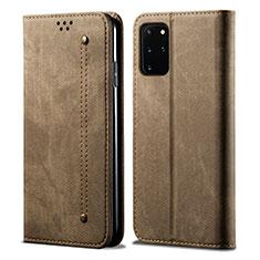 Handytasche Stand Schutzhülle Stoff für Samsung Galaxy S20 Plus 5G Braun
