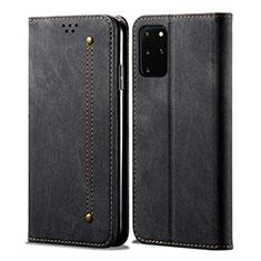 Handytasche Stand Schutzhülle Stoff für Samsung Galaxy S20 Plus 5G Schwarz