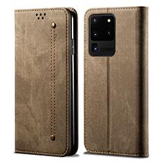 Handytasche Stand Schutzhülle Stoff für Samsung Galaxy S20 Ultra 5G Braun