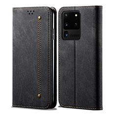 Handytasche Stand Schutzhülle Stoff für Samsung Galaxy S20 Ultra 5G Schwarz