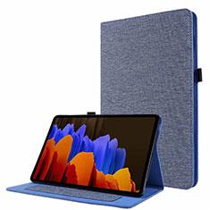 Handytasche Stand Schutzhülle Stoff für Samsung Galaxy Tab S7 4G 11 SM-T875 Blau