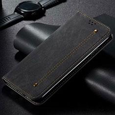 Handytasche Stand Schutzhülle Stoff für Vivo X50 Lite Schwarz