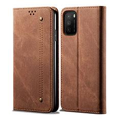 Handytasche Stand Schutzhülle Stoff für Xiaomi Poco M3 Braun