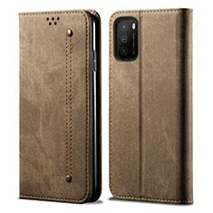 Handytasche Stand Schutzhülle Stoff für Xiaomi Poco M3 Kahki