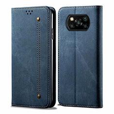 Handytasche Stand Schutzhülle Stoff für Xiaomi Poco X3 NFC Blau