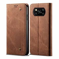 Handytasche Stand Schutzhülle Stoff für Xiaomi Poco X3 NFC Braun