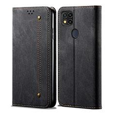 Handytasche Stand Schutzhülle Stoff für Xiaomi Redmi 9 India Schwarz