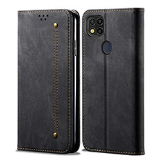 Handytasche Stand Schutzhülle Stoff für Xiaomi Redmi 9C Schwarz
