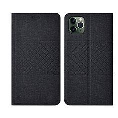 Handytasche Stand Schutzhülle Stoff H01 für Apple iPhone 11 Pro Schwarz