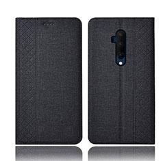 Handytasche Stand Schutzhülle Stoff H01 für OnePlus 7T Pro Schwarz