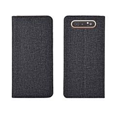 Handytasche Stand Schutzhülle Stoff H01 für Samsung Galaxy A80 Schwarz