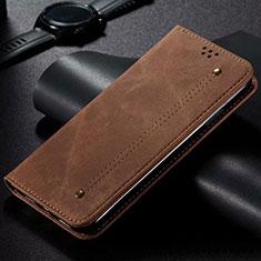Handytasche Stand Schutzhülle Stoff H01 für Samsung Galaxy S20 Ultra Braun