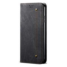 Handytasche Stand Schutzhülle Stoff L01 für Huawei P Smart (2020) Schwarz
