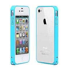 Hülle Luxus Aluminium Metall Rahmen für Apple iPhone 4 Hellblau