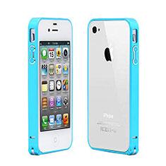 Hülle Luxus Aluminium Metall Rahmen für Apple iPhone 4S Hellblau