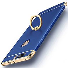 Hülle Luxus Metall Rahmen und Kunststoff mit Fingerring Ständer für Huawei Honor V8 Blau