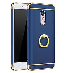Hülle Luxus Metall Rahmen und Kunststoff mit Fingerring Ständer für Xiaomi Redmi Note 4 Standard Edition Blau