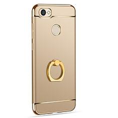 Hülle Luxus Metall Rahmen und Kunststoff mit Fingerring Ständer für Xiaomi Redmi Y1 Gold
