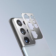 Kameraschutz Gehärtetes Glas Glasfolie Skins zum Aufkleben Panzerglas für Samsung Galaxy S21 Ultra 5G Silber