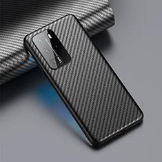 Kohlefaser Hülle Handyhülle Luxus Schutzhülle Flexible Tasche Köper C01 für Huawei P40 Pro Schwarz