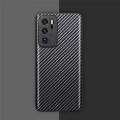 Kohlefaser Hülle Handyhülle Luxus Schutzhülle Flexible Tasche Köper für Huawei P40 Pro Schwarz